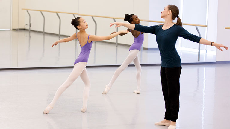 ballet students in training