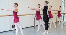 Dancers practice at the barre with their instructor.